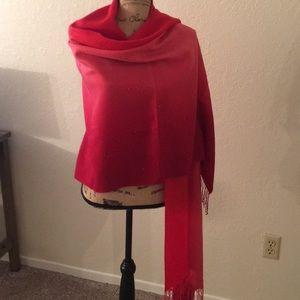 Ombré Red ❤️ Gold Speckled Cashmere Wrap